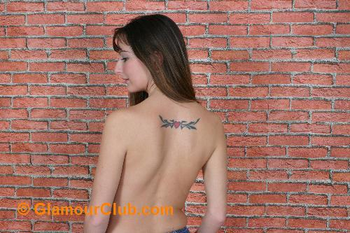 Honey B topless back shot
