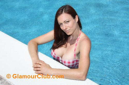 Irish model bikini in swimming pool