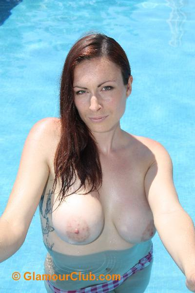Irish model topless in swimming pool