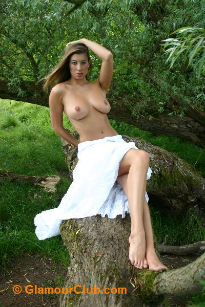 Maria Eriksson topless in white skirt