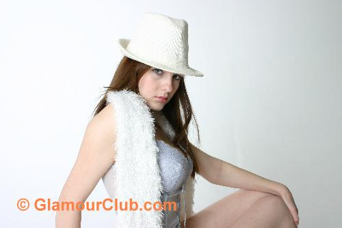 Morgan white hat and white feather scarf