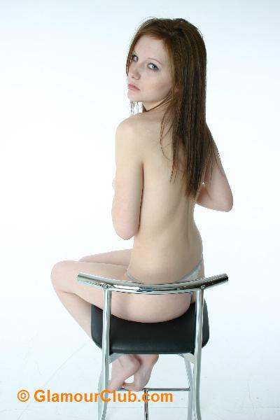 Morgan topless sideboob sitting on stool