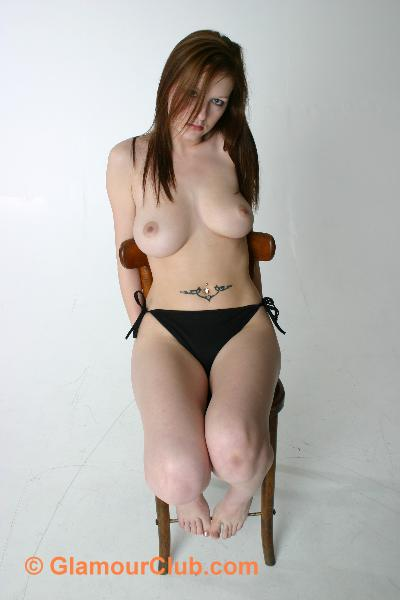 Morgan topless on chair