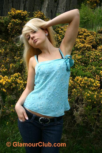 Oksana G turquoise top and jeans