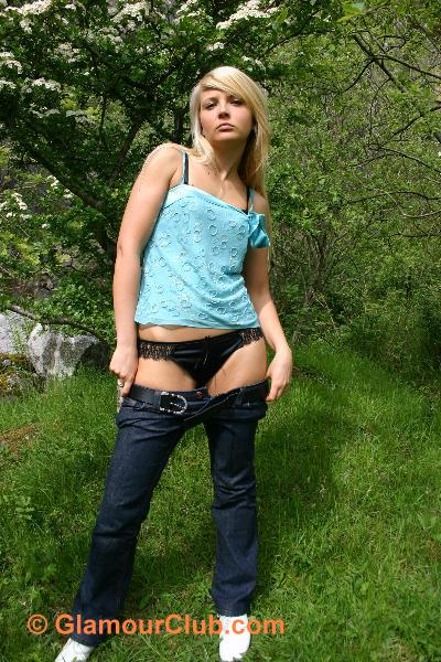 Oksana G removing jeans black knickers