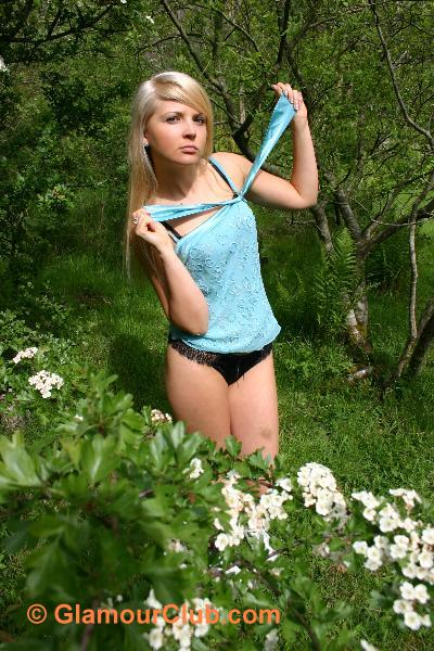 Oksana G turquoise top and black knickers