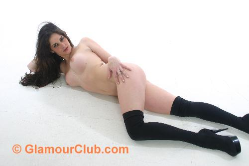 Rebecca Bailey naked in black stockings and heels