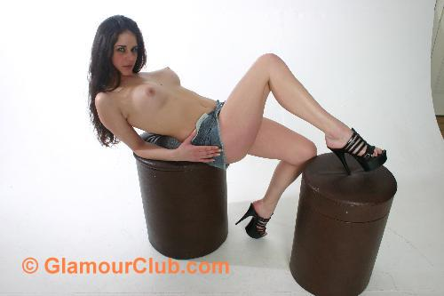 Rebecca Bailey denim skirt topless with stools