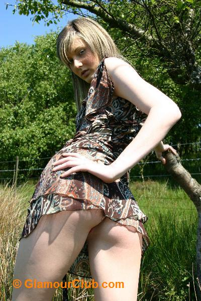 Sarah Blue in summer dress upskirt shot