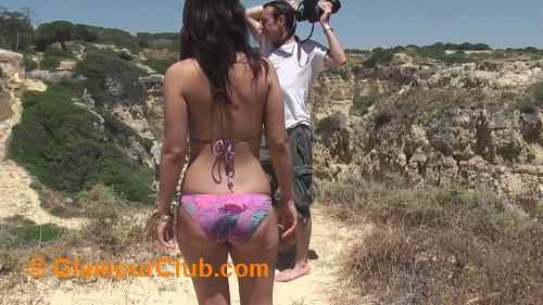 Jaqi in bikini on clifftop
