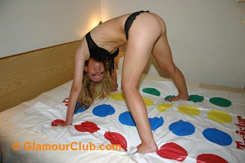 Lisa Littleton on twister mat