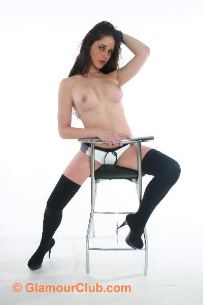 Rebecca Bailey topless straddling stool