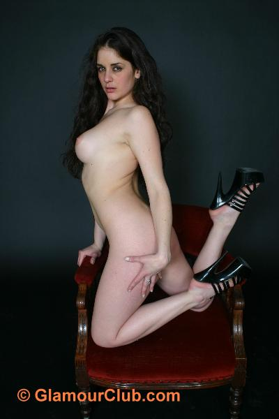 Rebecca Bailey naked kneeling on chair