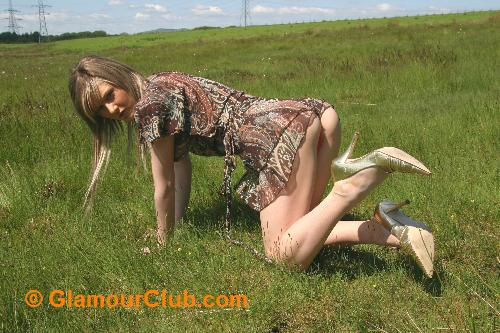 Sarah Blue on all fours in summer dress with bum showing
